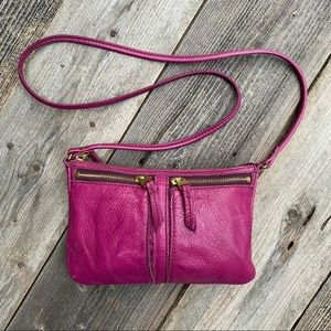 Vintage Fossil Pink Leather Crossbody